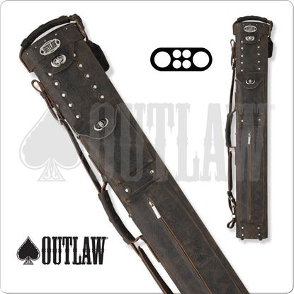 Picture of OUTLAW COWBOY OLBCC01 2X4 BROWN LEATHER HARD CUE CASE