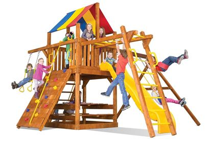 """Picture of Carnival Clubhouse Pkg III with 4"""" x 4"""" Monkey Bars 38B"""