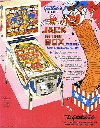 Picture of Jack in the Box Pinball Machine by Gottlieb