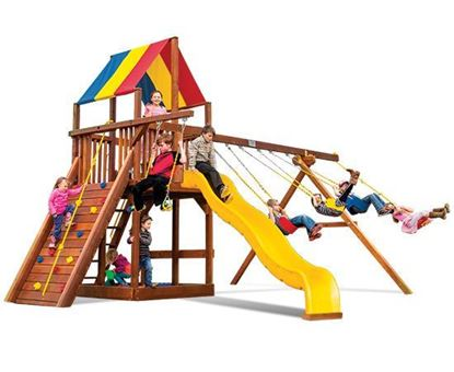 Picture of Rainbow Clubhouse Pkg II with 4 Pos Swing Beam and Sandbox 58E